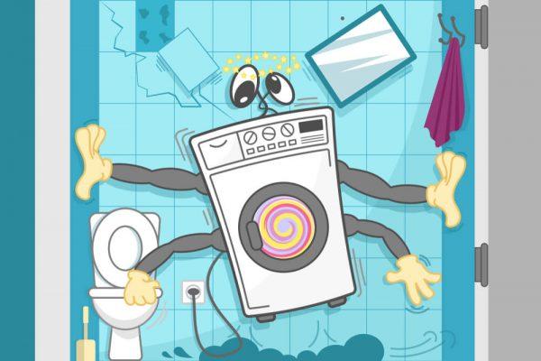 لرزش ماشین لباسشویی , عیب یابی ماشین لباسشویی